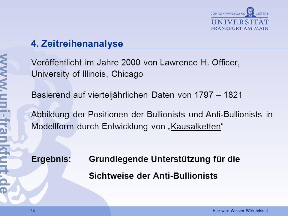 4. Zeitreihenanalyse Veröffentlicht im Jahre 2000 von Lawrence H. Officer, University of Illinois, Chicago.