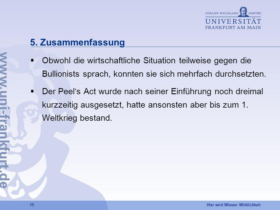 5. Zusammenfassung Obwohl die wirtschaftliche Situation teilweise gegen die Bullionists sprach, konnten sie sich mehrfach durchsetzten.