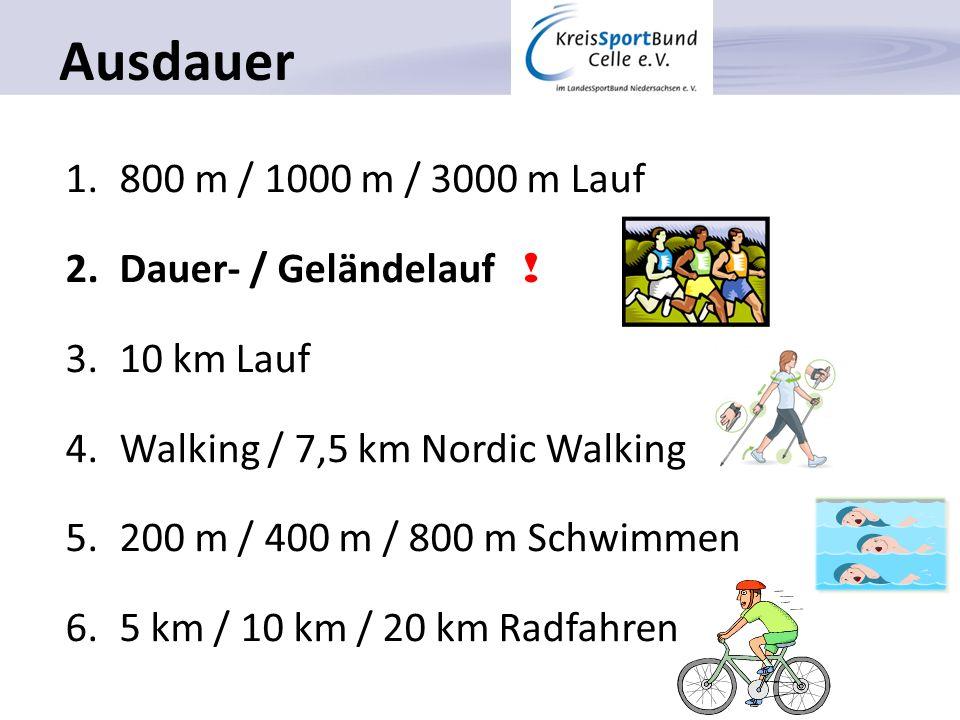 Ausdauer 800 m / 1000 m / 3000 m Lauf Dauer- / Geländelauf !