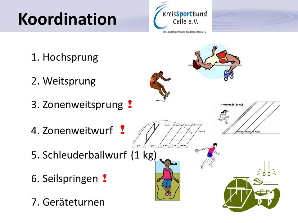 Koordination 1. Hochsprung 2. Weitsprung 3. Zonenweitsprung !