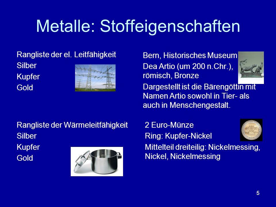 Metalle: Stoffeigenschaften