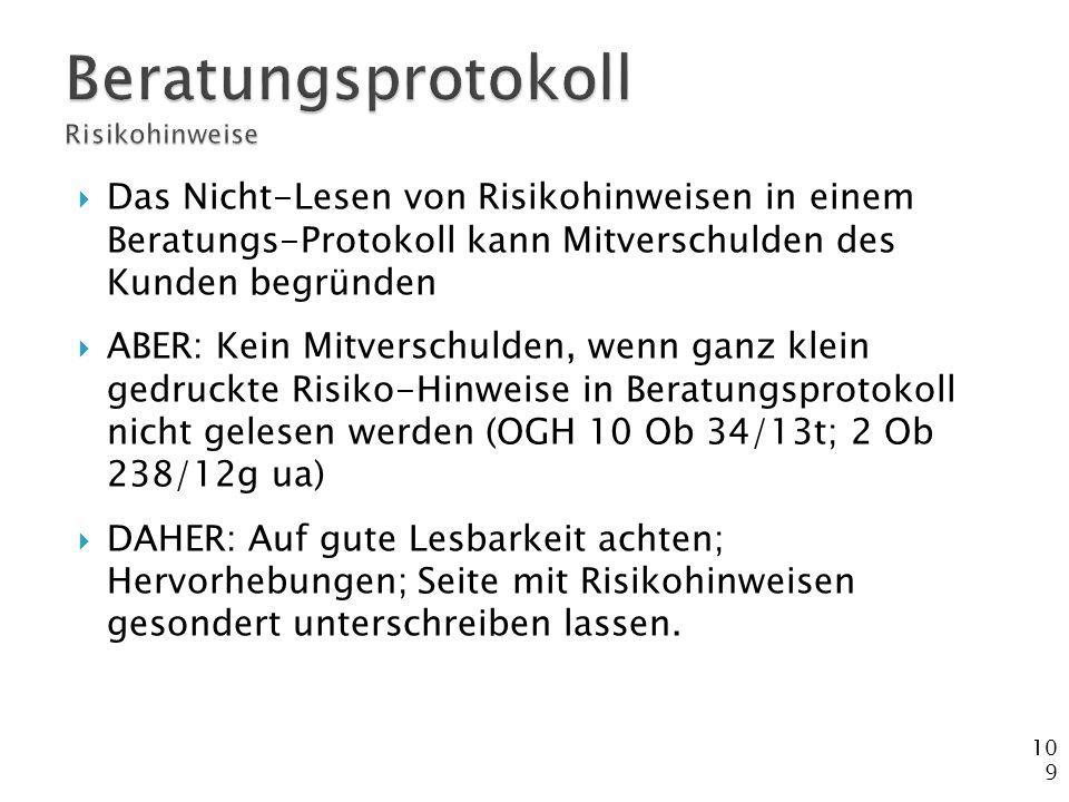 Beratungsprotokoll Risikohinweise