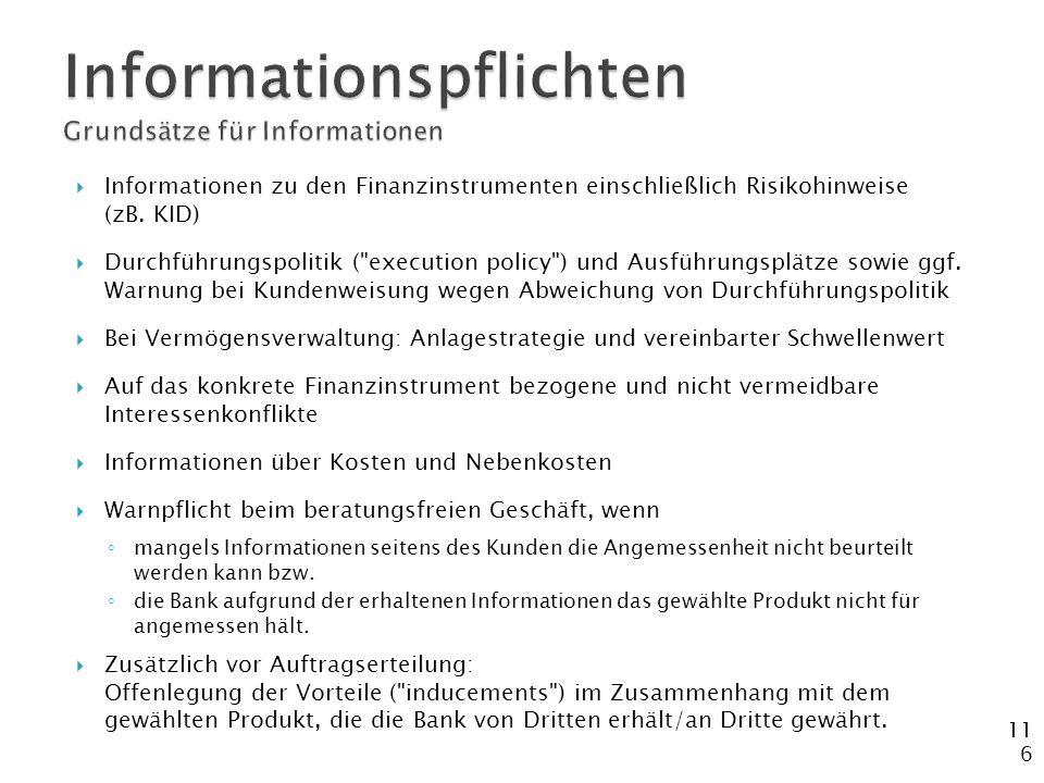 Informationspflichten Grundsätze für Informationen