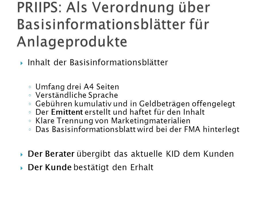 PRIIPS: Als Verordnung über Basisinformationsblätter für Anlageprodukte
