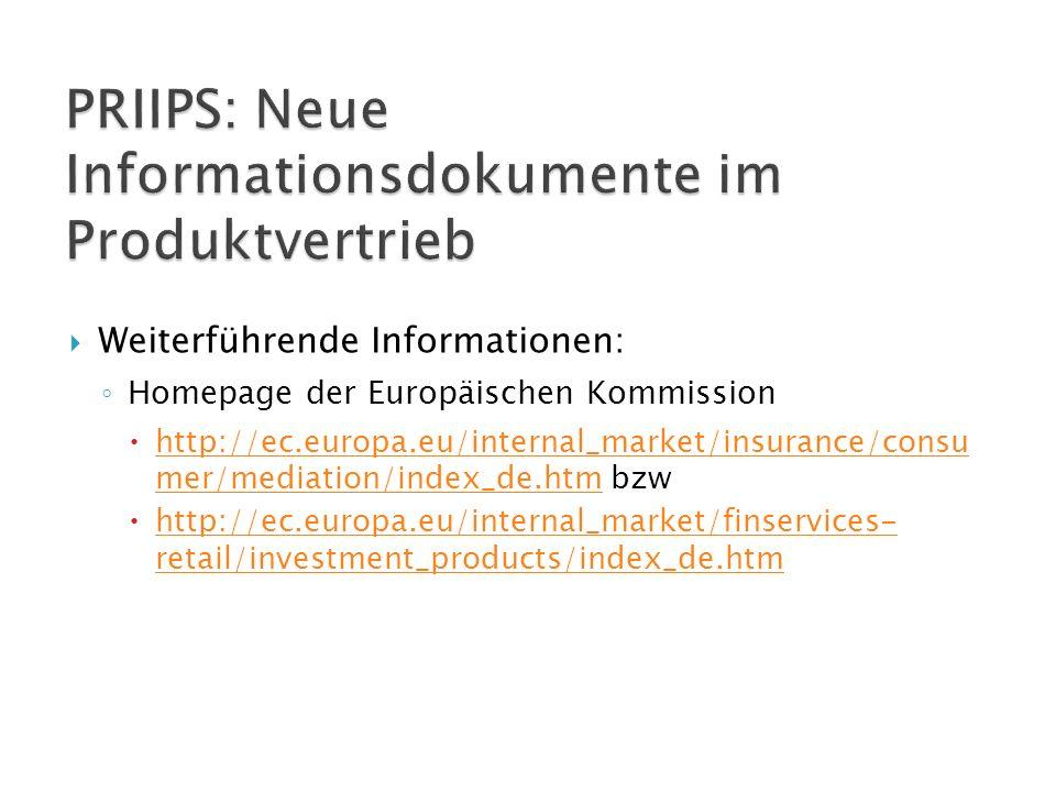 PRIIPS: Neue Informationsdokumente im Produktvertrieb