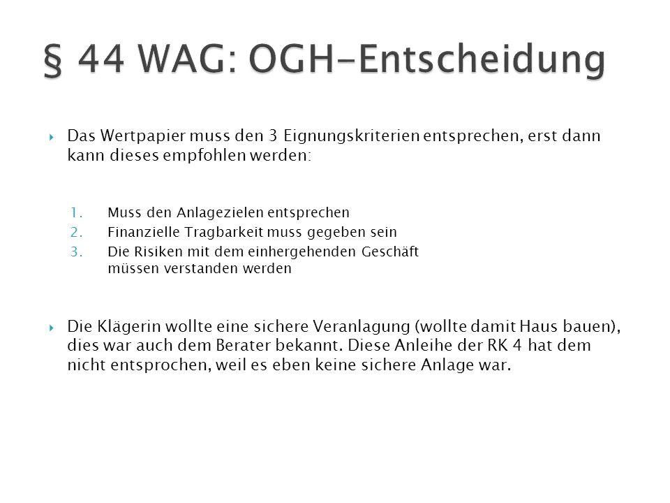 § 44 WAG: OGH-Entscheidung