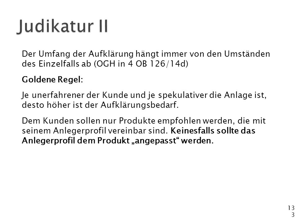 Judikatur II