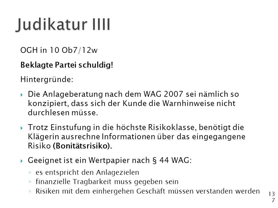 Judikatur IIII OGH in 10 Ob7/12w Beklagte Partei schuldig!
