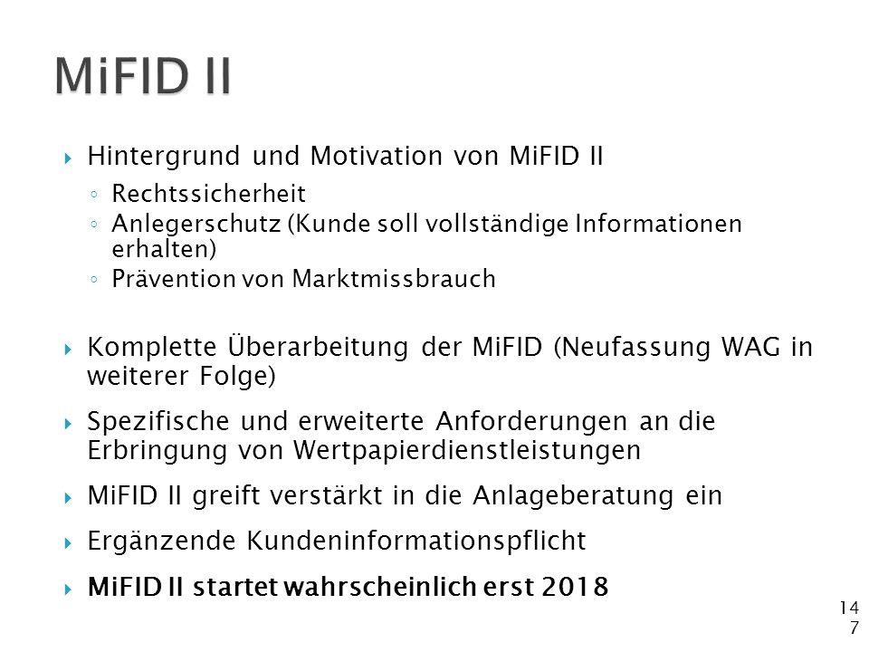 MiFID II Hintergrund und Motivation von MiFID II