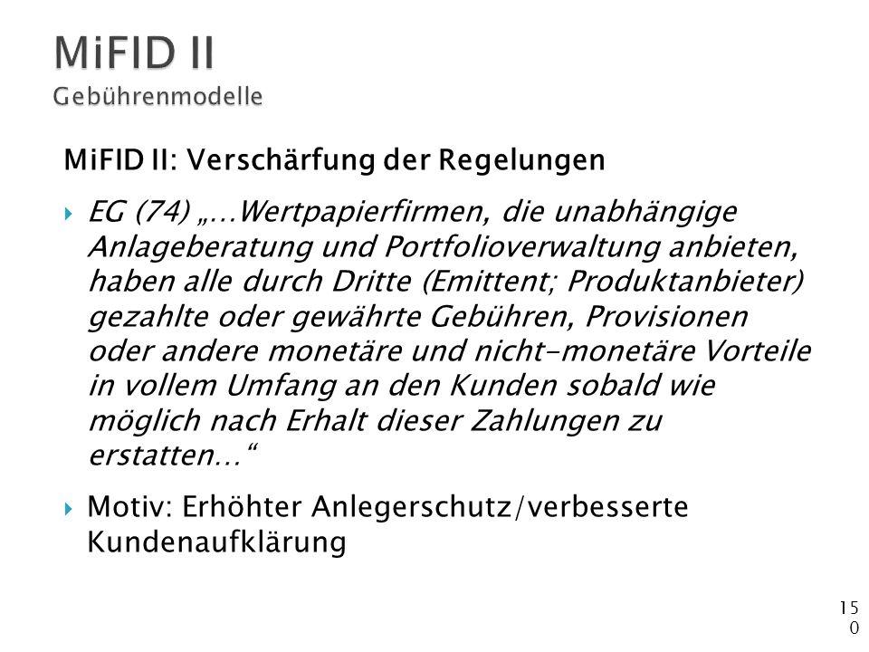 MiFID II Gebührenmodelle