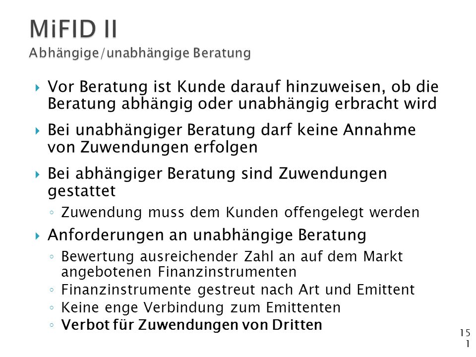 MiFID II Abhängige/unabhängige Beratung