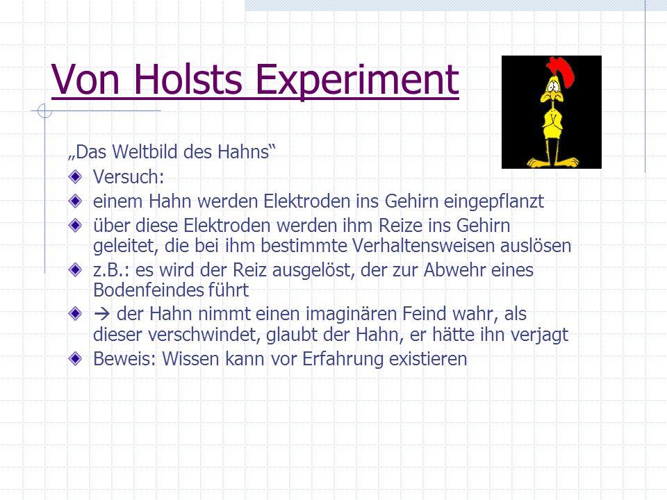 """Von Holsts Experiment """"Das Weltbild des Hahns Versuch:"""