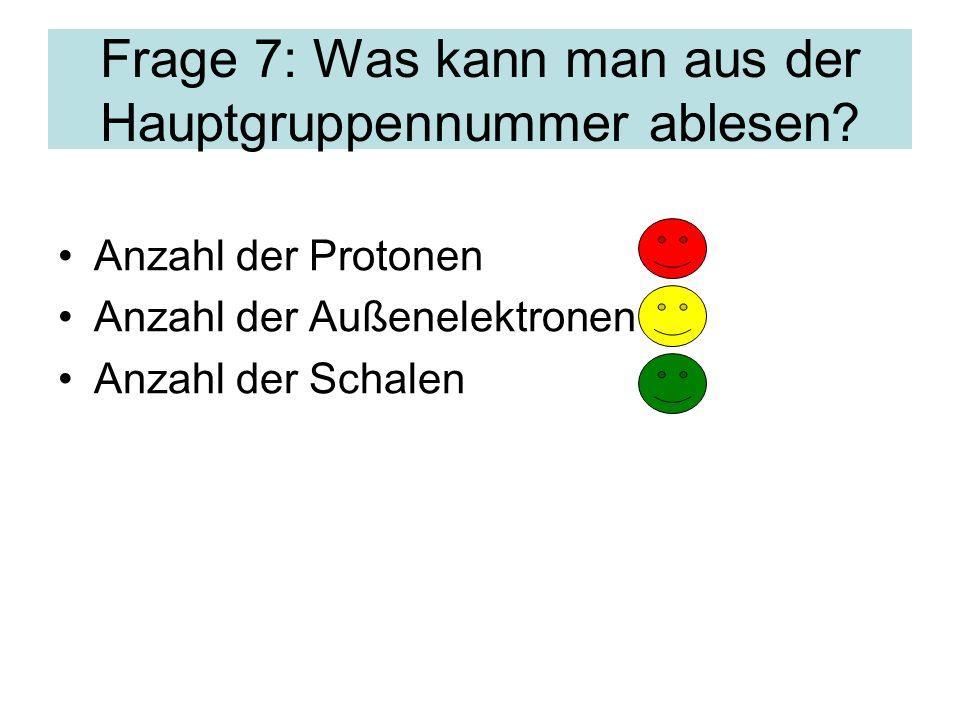 Frage 7: Was kann man aus der Hauptgruppennummer ablesen