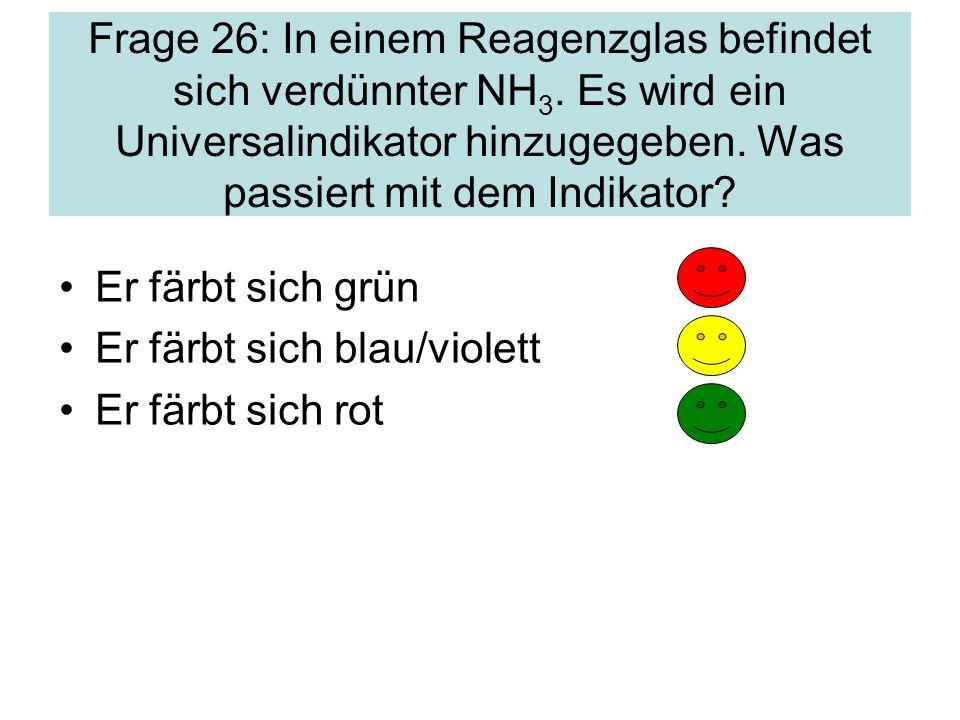 Frage 26: In einem Reagenzglas befindet sich verdünnter NH3