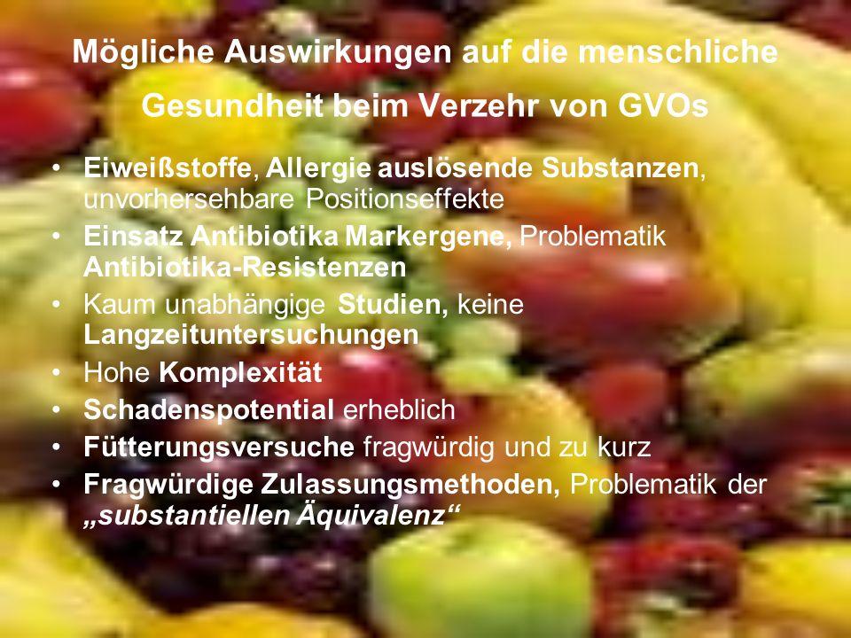 Mögliche Auswirkungen auf die menschliche Gesundheit beim Verzehr von GVOs