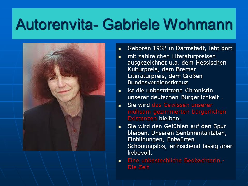 Autorenvita- Gabriele Wohmann