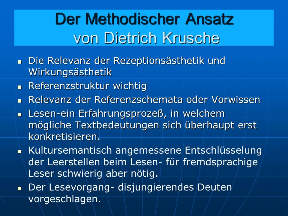 Der Methodischer Ansatz von Dietrich Krusche