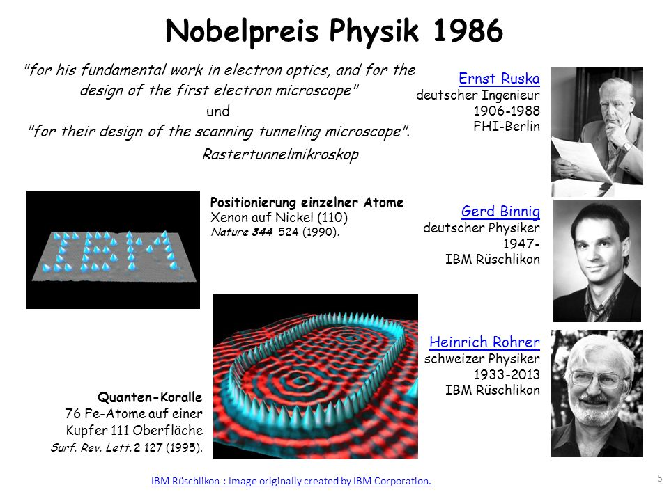 Nobelpreis Physik 1986 for his fundamental work in electron optics, and for the design of the first electron microscope