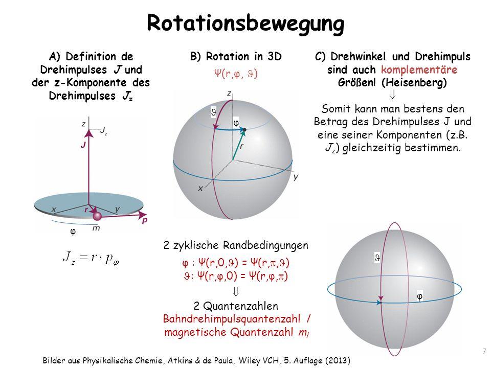 Rotationsbewegung A) Definition de Drehimpulses J und der z-Komponente des Drehimpulses Jz. B) Rotation in 3D.