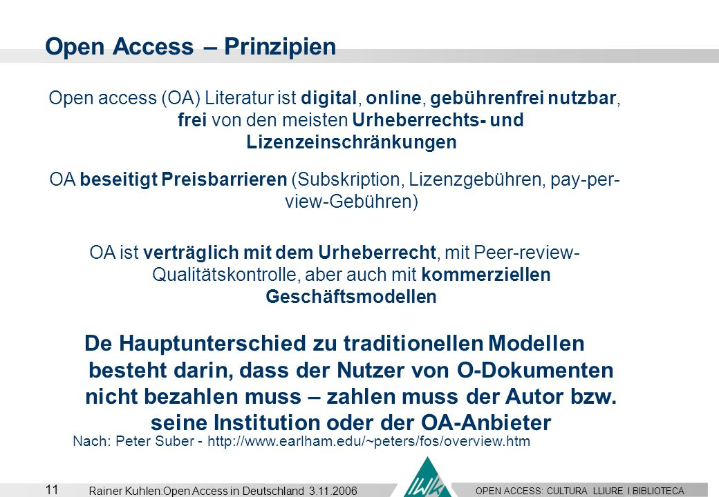 Open Access – Prinzipien
