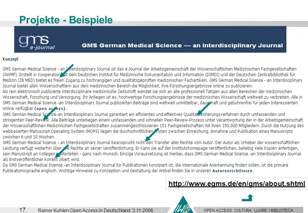 Projekte - Beispiele http://www.egms.de/en/gms/about.shtml