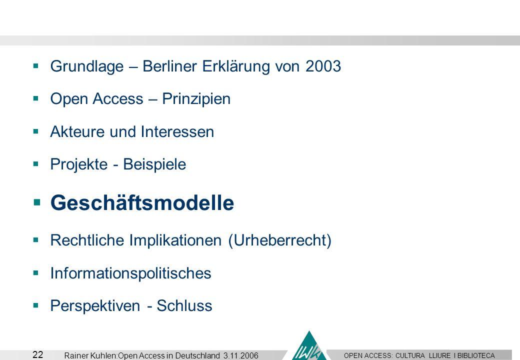 Geschäftsmodelle Grundlage – Berliner Erklärung von 2003