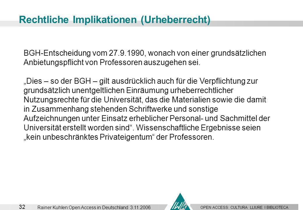 Rechtliche Implikationen (Urheberrecht)