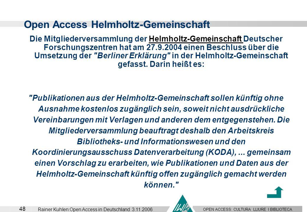 Open Access Helmholtz-Gemeinschaft