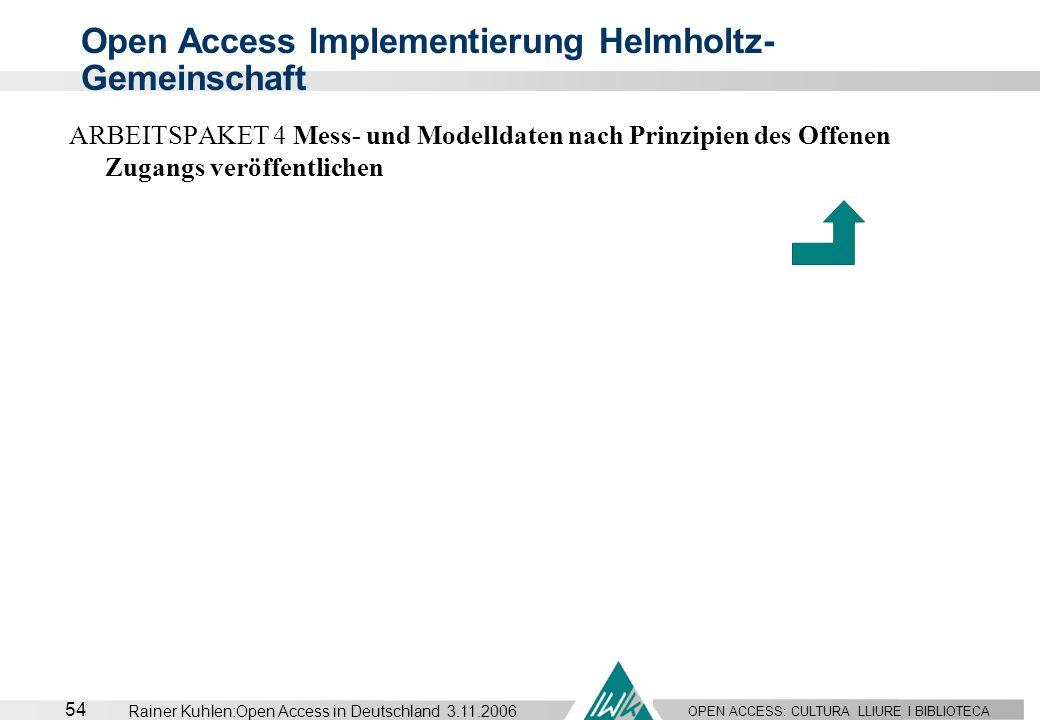 Open Access Implementierung Helmholtz-Gemeinschaft