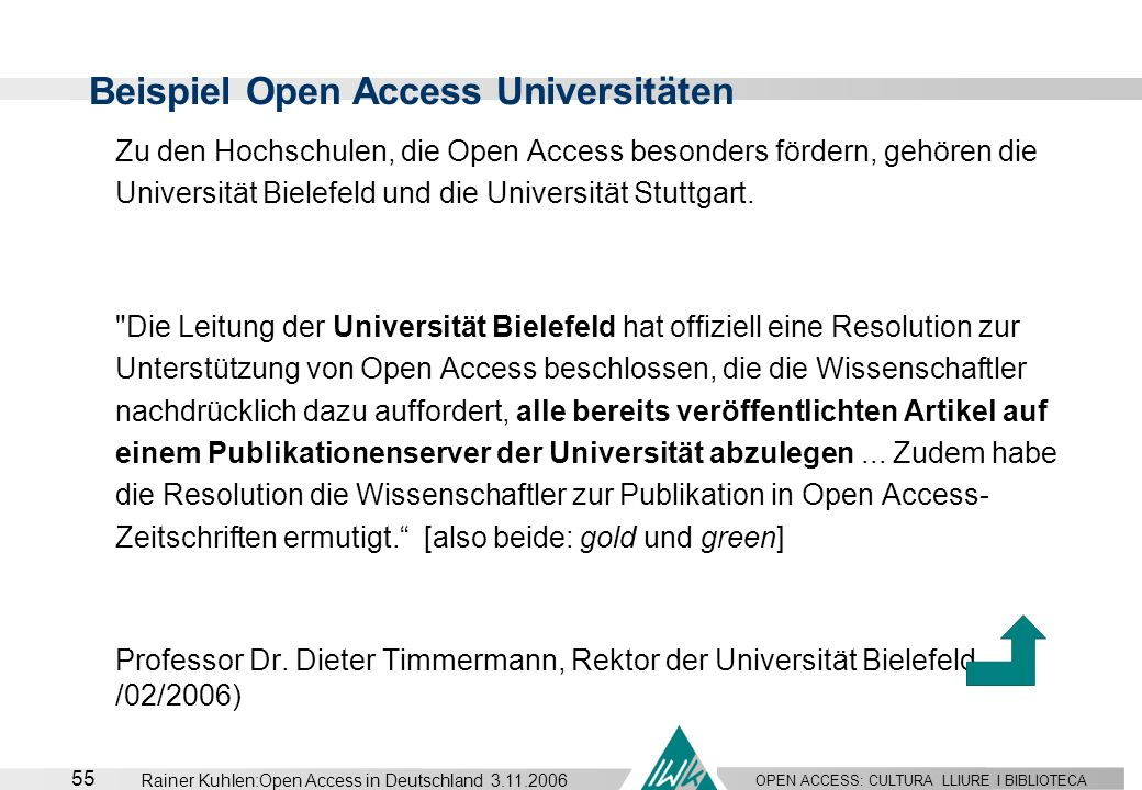 Beispiel Open Access Universitäten