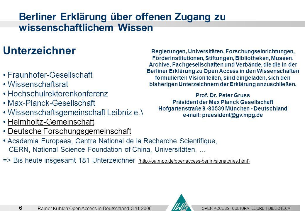 Berliner Erklärung über offenen Zugang zu wissenschaftlichem Wissen