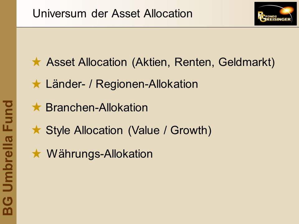 Universum der Asset Allocation