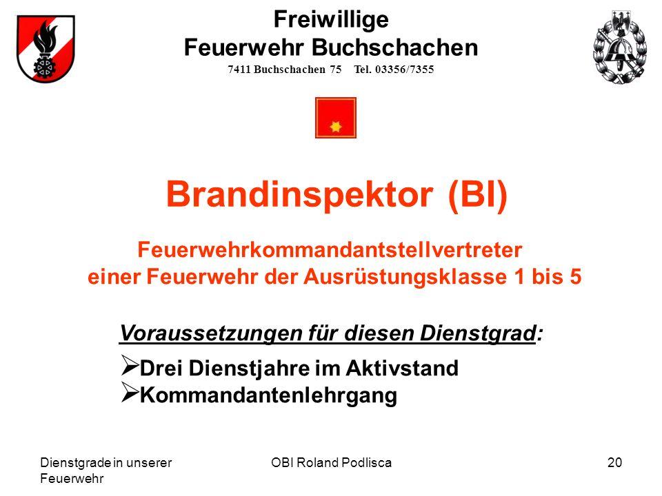 Brandinspektor (BI) Freiwillige Feuerwehr Buchschachen