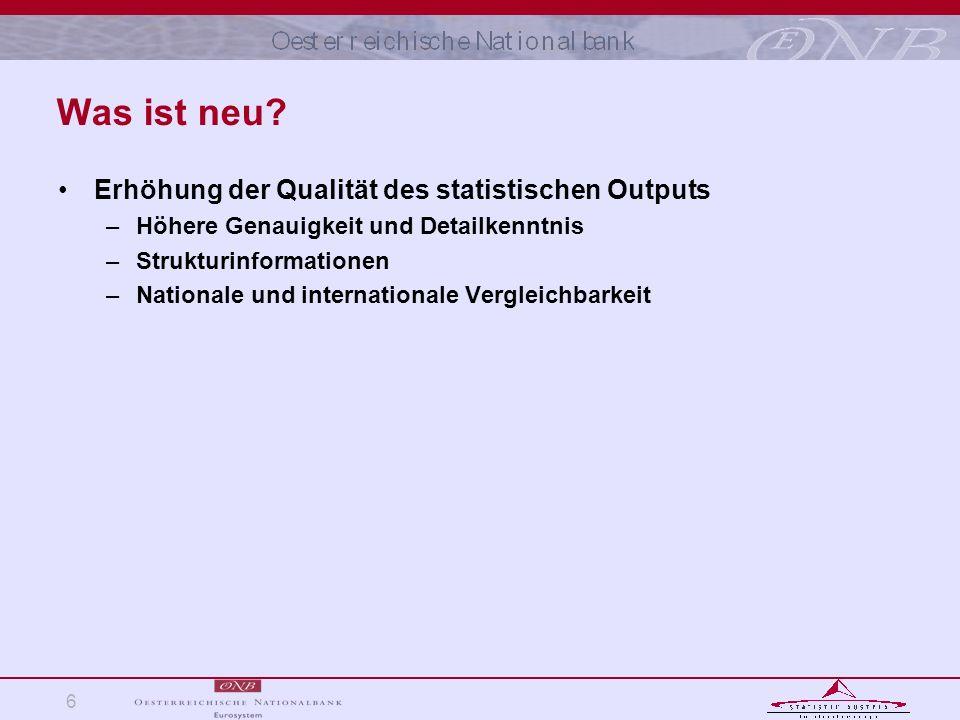 Was ist neu Erhöhung der Qualität des statistischen Outputs