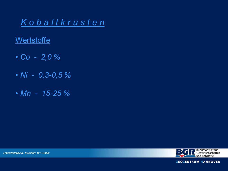 K o b a l t k r u s t e n Wertstoffe Co - 2,0 % Ni - 0,3-0,5 %