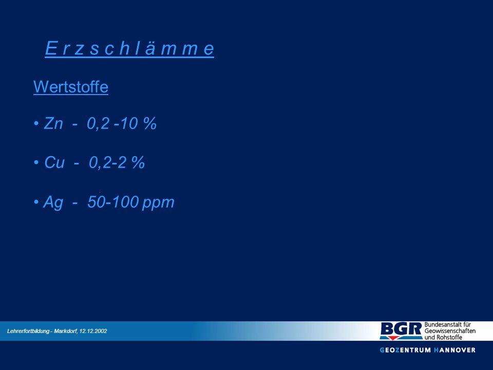 E r z s c h l ä m m e Wertstoffe Zn - 0,2 -10 % Cu - 0,2-2 %