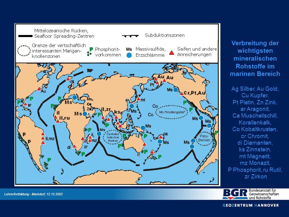Verbreitung der wichtigsten mineralischen Rohstoffe im marinen Bereich