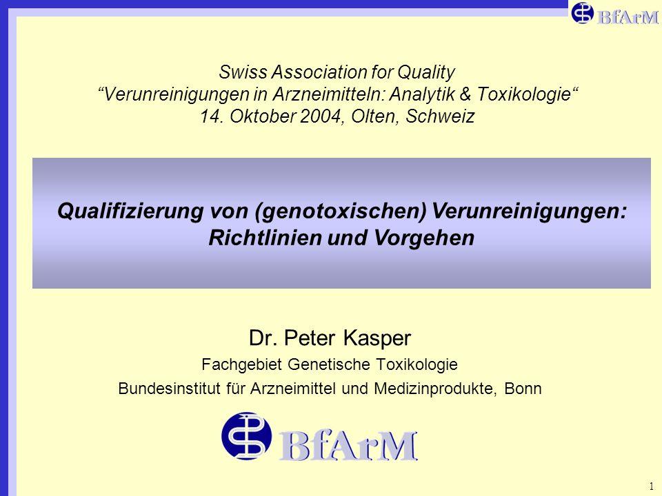 Swiss Association for Quality Verunreinigungen in Arzneimitteln: Analytik & Toxikologie 14. Oktober 2004, Olten, Schweiz
