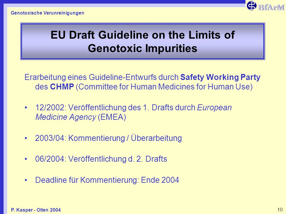EU Draft Guideline on the Limits of Genotoxic Impurities