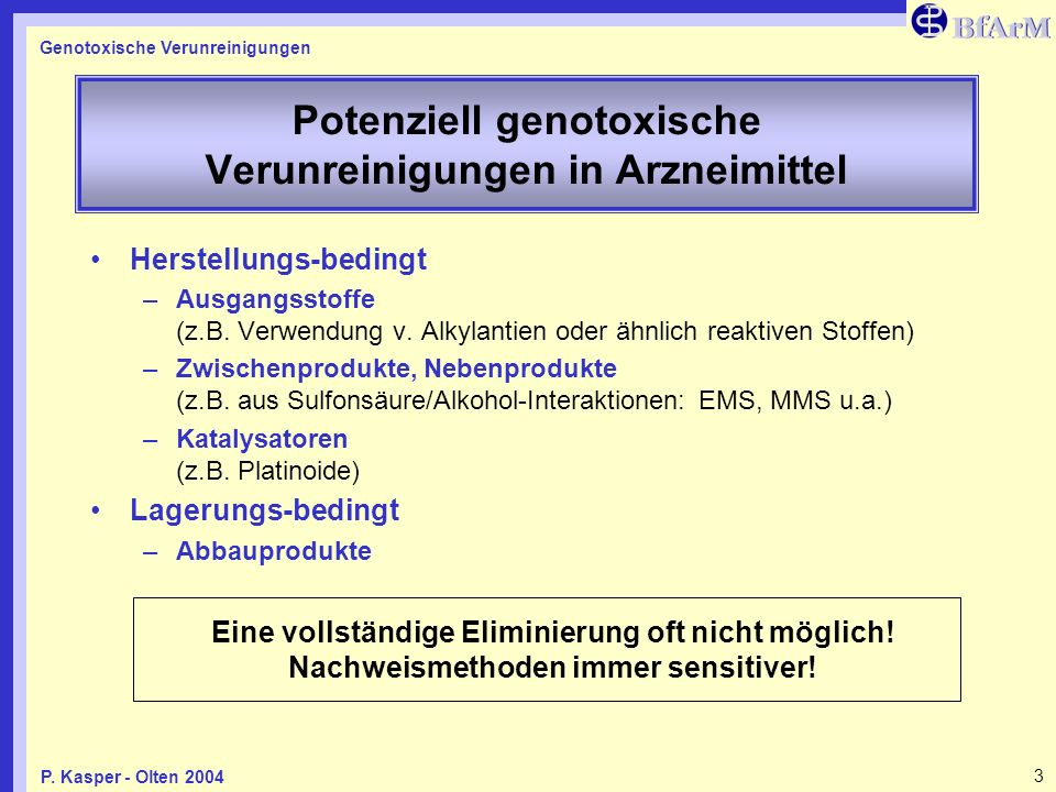 Potenziell genotoxische Verunreinigungen in Arzneimittel