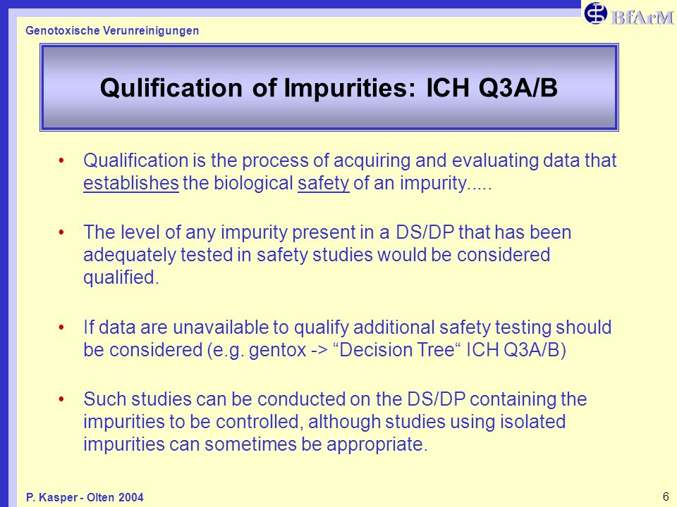 Qulification of Impurities: ICH Q3A/B