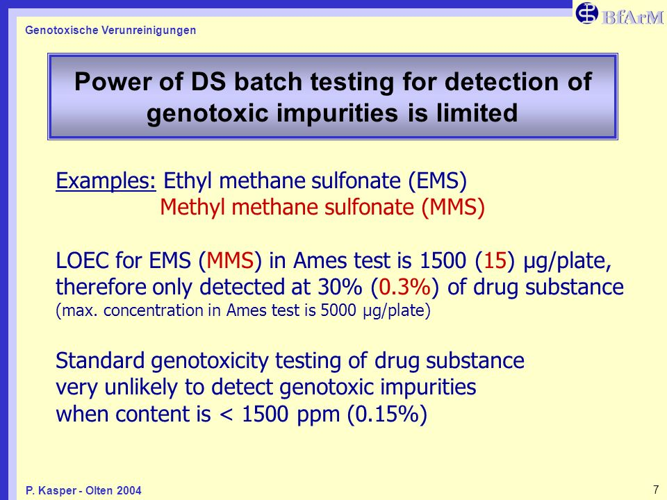Power of DS batch testing for detection of genotoxic impurities is limited