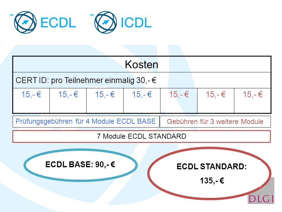 Kosten CERT ID: pro Teilnehmer einmalig 30,- € 15,- €