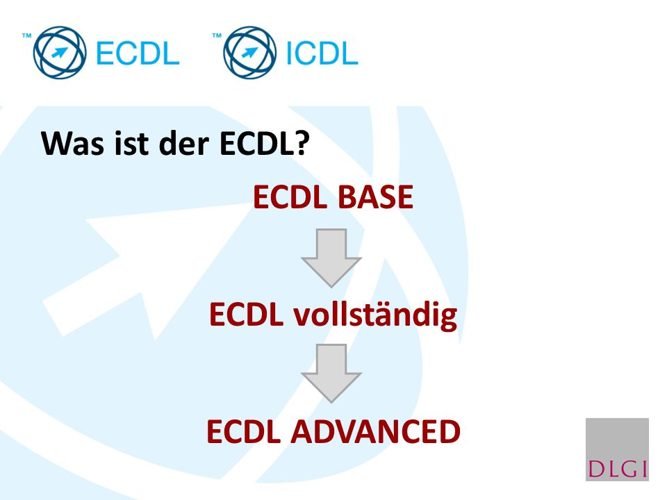 Was ist der ECDL ECDL BASE ECDL vollständig ECDL ADVANCED