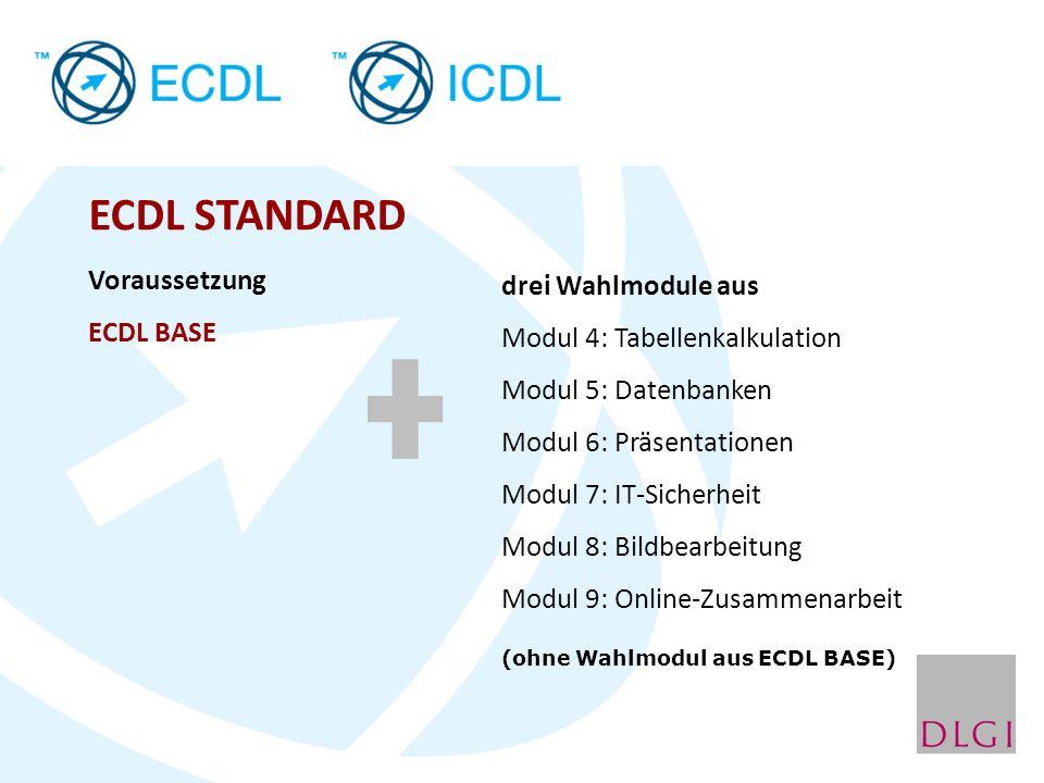 ECDL STANDARD Voraussetzung drei Wahlmodule aus ECDL BASE