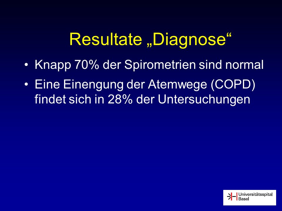 "Resultate ""Diagnose Knapp 70% der Spirometrien sind normal"