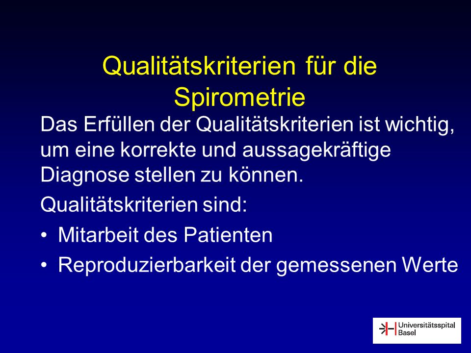 Qualitätskriterien für die Spirometrie