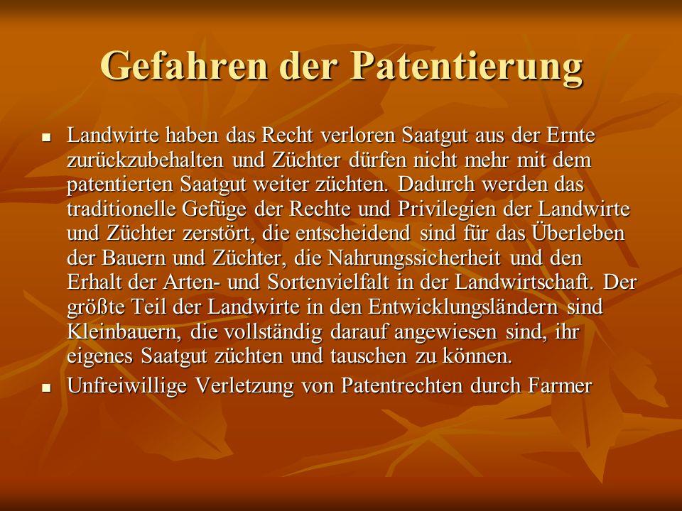 Gefahren der Patentierung
