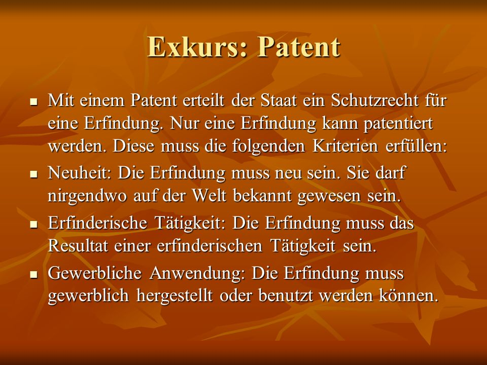 Exkurs: Patent