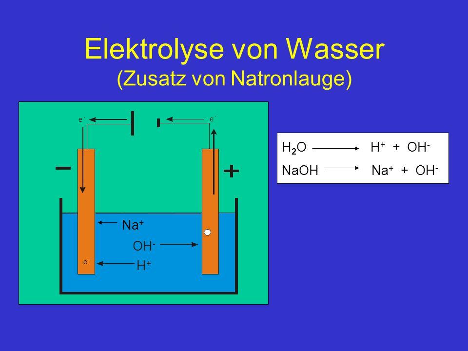 Elektrolyse von Wasser (Zusatz von Natronlauge)